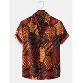 Ethnischer Stil Bandana Print Herren Revers Kragen Kurzarm Shirts