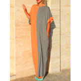 Plus Size Women Two-tone Patchwork Kaftan Maxi Dress