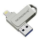 MicroDrive 3 in 1 Multifunctional USB2.0 For lightning Interface Flash Drive Ultra-fast Transmission 360° Rotation Metal 16GB 32GB 64GB 128GB 256GB Pendrive USB Disk