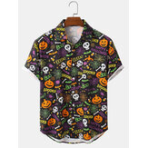 Mens Light Halloween Cartoon Letter Print Casual Shirts