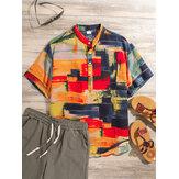 Mens Color Blocks Painting Summer Casual Printing Henley Shirts