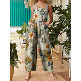 Women Floral Print Cotton Holiday Casual Wide Leg Jumpsuit