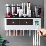 Suporte para escovas de dentes montado na parede Suporte automático para escovas de dente com espremedor de pasta de dente Suporte para escovas de dentes invertidas Suporte para armazenamento de copos Banheiro Acessórios