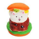 Squishy Cat Hamburger 10 * 8cm Slow Rising Toy com embalagem Bolsa Gift Collection