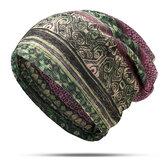 Gorro multifuncional de tela escocesa étnica de algodón para mujer Sombrero Bufanda vendimia Buenas gorras elásticas de turbante