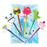 6PCS Squishy Pen Cap Wholesale Panda Dinosaur Unicorn Cake Animal Slow Rising Jumbo With Pen Stress Relief Toys Gift