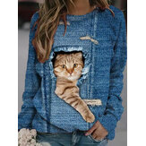 Women Design 3D Cat Print Pullover Long Sleeve Cute Sweatshirts