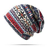 Femmes Coton Style Ethnique Beanie Chapeau Chaud Soft À Double Usage Colliers Écharpe et Chapeau