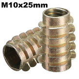 5Pcs M10x25mm Hex Drive Screw In Threaded Insert For Wood Type E