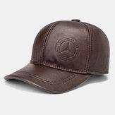 Oreille de couleur unie en cuir véritable pour hommes protégé Plus chapeau de baseball épais occasionnel