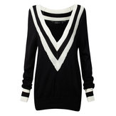 Sexy Navy Wind Striped Deep V Neck Casual Long Sleeve Knit Sweaters