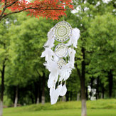 Witte kant bloem Dreamcatcher Windgong Indische stijl Feather hanger Dream Catcher creatieve auto opknoping decoratie met Feather Core kraal Dream Catcher voor muur auto decoratie dromenvanger Decor