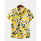 Hommes Color Block Lily Print Turn Down Collar Hawaii Holiday Casual Chemises à manches courtes