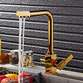 KCASA KC-9050 Brass Swivel Drinking Hot & Cold Water Faucet 3 Way Water Filter Purifier Golden Kitchen Faucets Sinks Taps