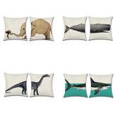 Fundadecojíndedinosauriotiburón tiburón elefante Almohada de lino de algodón Caso Lanza Boda Decoración Funda de almohada