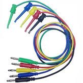DANIU 5pcs 4mm Banana Plug to Copper Dual Test Hook Clip Cable Lead Wire 100cm