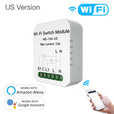 MoesHouse MS-104-US Mini modulo interruttore luce intelligente WiFi fai-da-te Single Pole / 3 Way 1 Gang Module Smart Life / App Tuya per Amazon Alexa e Google Home