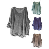 Irregular Solid Color V-neck Knitting Baggy Sweaters