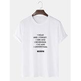 Męskie bawełniane koszulki z napisem w jednolitym kolorze, luźne, codzienne koszulki z okrągłym dekoltem
