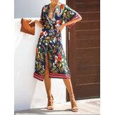 Bohemian bloemenprint V-hals stropdas taille zomer bikini midi-jurk