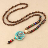 Ethnic Blue Beads Necklace