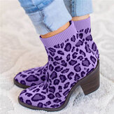 Plus Size Women Breathable Knitted Fabric Leopard Chunky Heel Short Boots