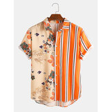 Män tropiska växter Colorful Rand Mixed Print Kortärmad Casual Holiday Shirts