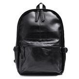 حقيبة ظهر جلدية عتيقة ضد للماء كمبيوتر محمول أسود حقيبة مدرسية حقيبة كتف حقيبة ظهر تخييم سفر أعمال
