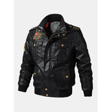 Mens PU Leather Badge Zip Front Biker Jackets With Flap Pockets