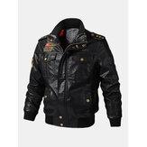 Куртки байкерского фронта застежки -молнии значка ПУ людей кожаные с карманами клапана