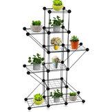 3/4/5 Grids Iron Plant Rack Flower Pot Stand Metal Garden Storage Shelf Display Rack Home Office Furniture