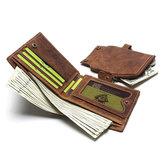 Men Genuine Leather Secure Tri-fold Vintage Wallet