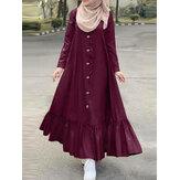 Damska luźna sukienka maxi z długim rękawem w jednolitym kolorze