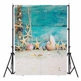 3x5FTサマービーチシェルブルーウッドの壁の写真の背景の背景スタジオプロップ