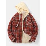 Veste à capuche doublée en fausse fourrure à carreaux vintage pour hommes