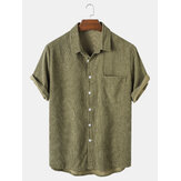 Banggood Designed Mens Corduroy Solid Turn Down Collar Kortärmade T-shirts