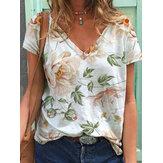 Camisetas informales de manga corta con cuello en V con estampado floral para Mujer