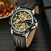 Business Skeleton Dial Leather Strap Stainless Steel Case Men Automatic Mechanical Watch Wristwatch