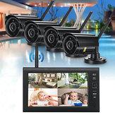 4 Adet Dijital Kablosuz CCTV Kamera Su Geçirmez 7 inç LCD Monitör DVR Kayıt Ev Güvenlik Sistemi