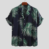 Mens Palm Leaf Printed Summer Casual Vacation Hawaiian Shirt