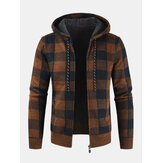 Mens Vintage Plaid Warm Zipper Warm Hooded Sweater Jacket