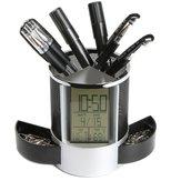 DX-111 Schwarz Digital LED Schreibtisch Wecker Mesh Pen Pencil Holder Kalender Timer Temperatur