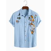 Heren katoenen ademende bloemen geborduurde casual overhemden met knopen