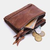 Porta-cartões de carteira com zíper vintage masculino Couro Genuíno