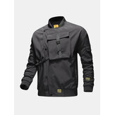 Mens Letter Back Printed Applique Baseball Collar Waterproof Outdoors Jackets Dengan Push Buckle
