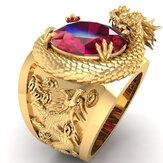 Luxus Gold Farbe Drachenmuster Männer Ringe eingelegt Big Oval Red Stone Edle Hochzeitsfeier Fingerringe Männlich Trendy Schmuck