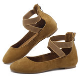 Women Casual Suede Flats Cross Shoes