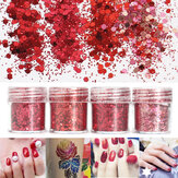 Red Nail Art Glitter Powder Sequins Décoration Tips 3D Mixed Dust