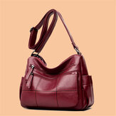 Donna Solid Multi-Slot Soft Crossbody in pelle Borsa Messenger con cuciture per il tempo libero Borsa
