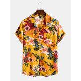 رجل النفط الطلاء الأزهار المطبوعة عطلة الصدر جيب قصيرة الأكمام قمصان طية صدر السترة Colalr